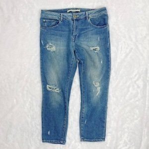 ZARA WOMAN Distressed Relaxed Fit Jeans Size 8